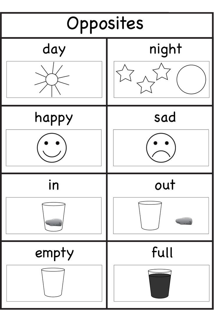 Worksheets For 4 Years Old Kids   Opposites Preschool