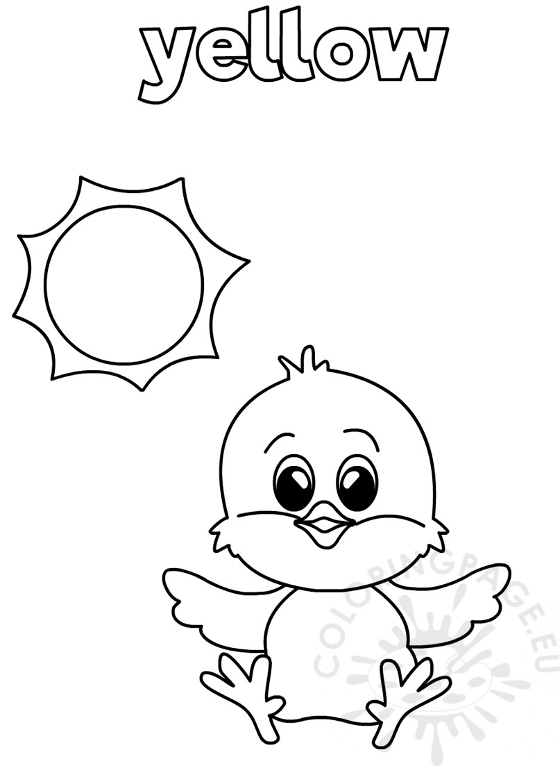 Yellow Coloring Worksheet For Kindergarten Page Easy Tracing