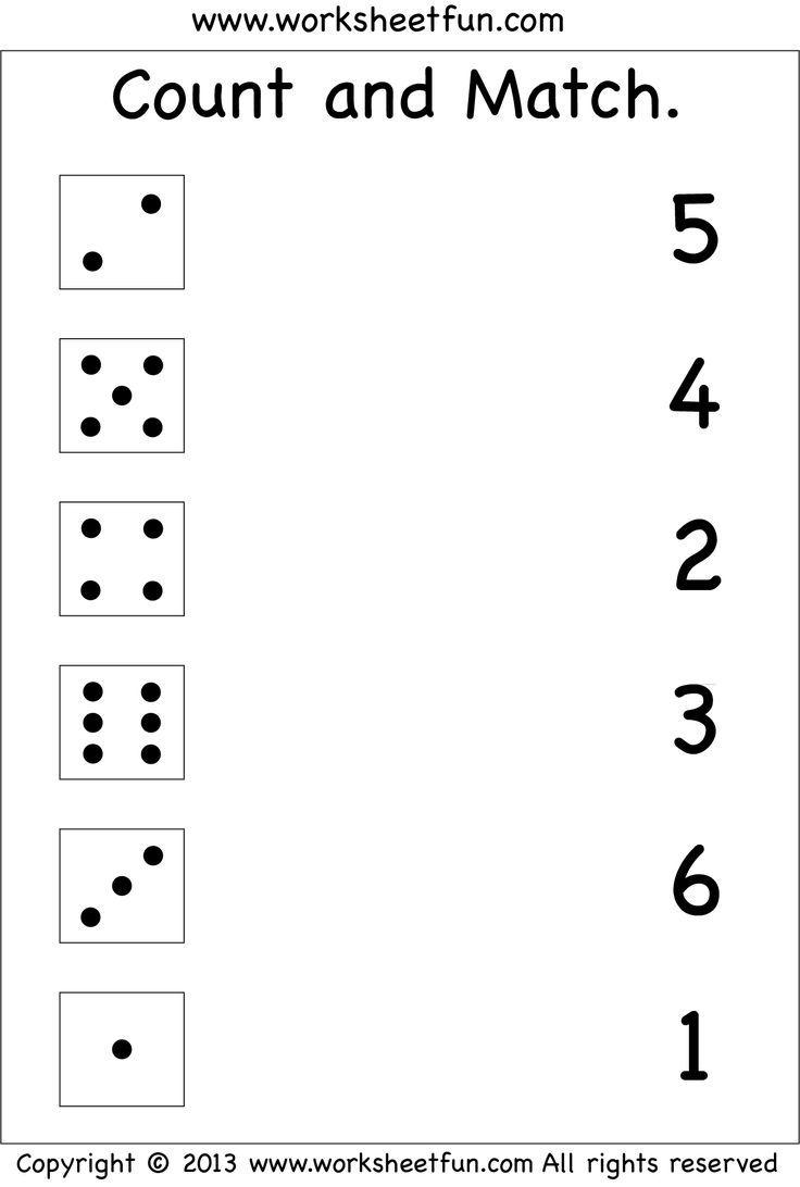 Zahlen - Anzahl Und Übereinstimmung / Kostenlose Druckbare