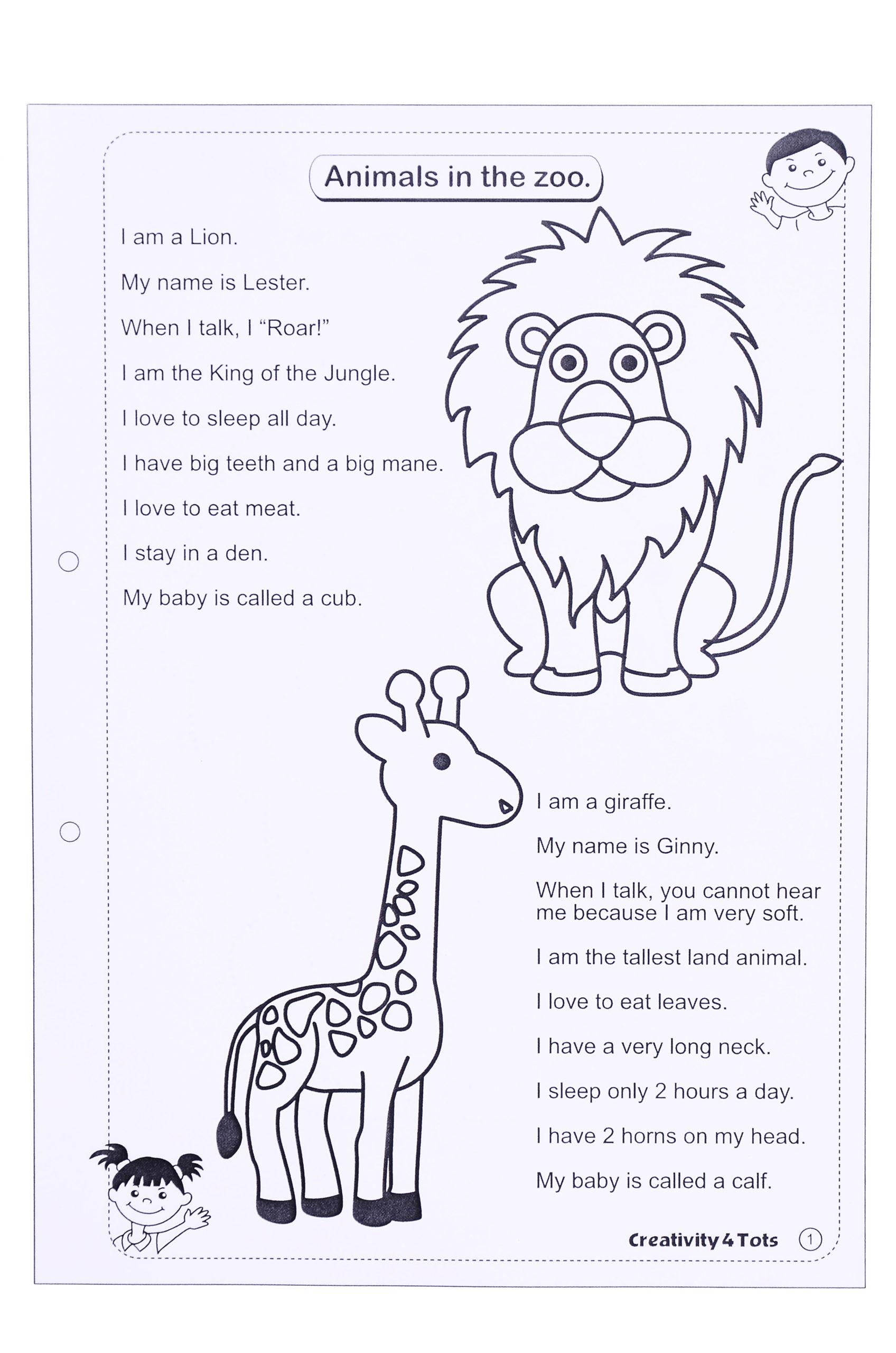 Zoo Animals Worksheet - This Worksheet Is Designed To Teach